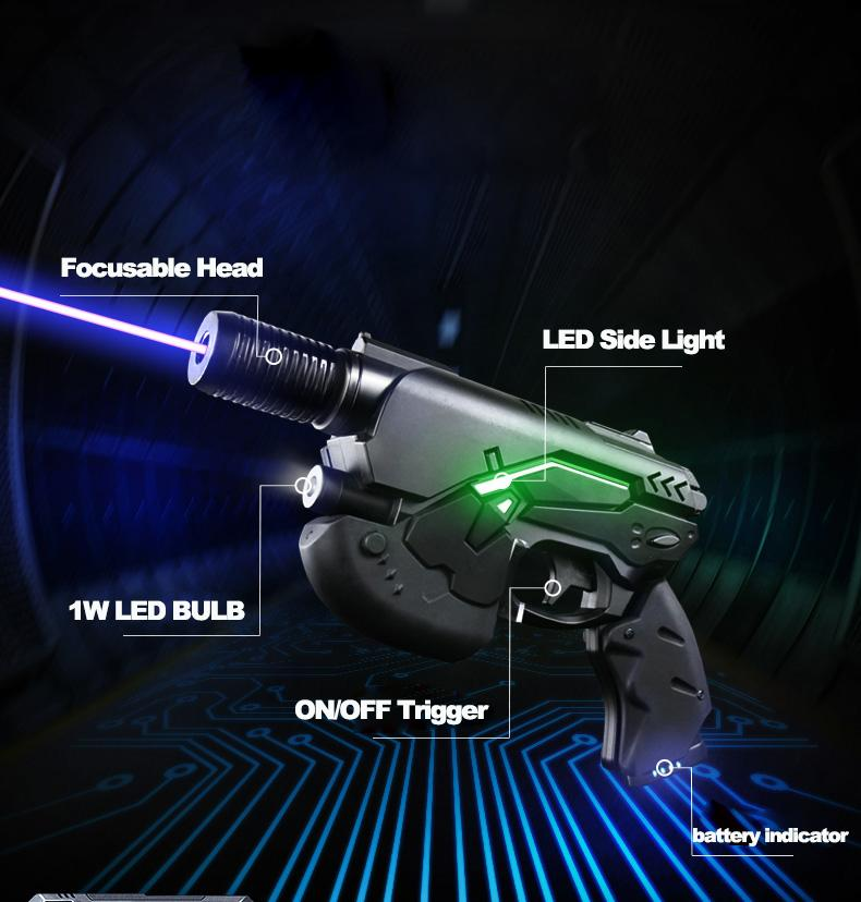 oxlasers 445nm burning 3W blue laser gun laser pointer gun laser focusable  6