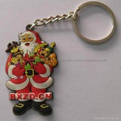 pvc cartoon Santa Claus keychain for christmas
