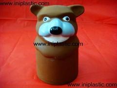 vinyl wolf head cat-mouse head dog head double face head