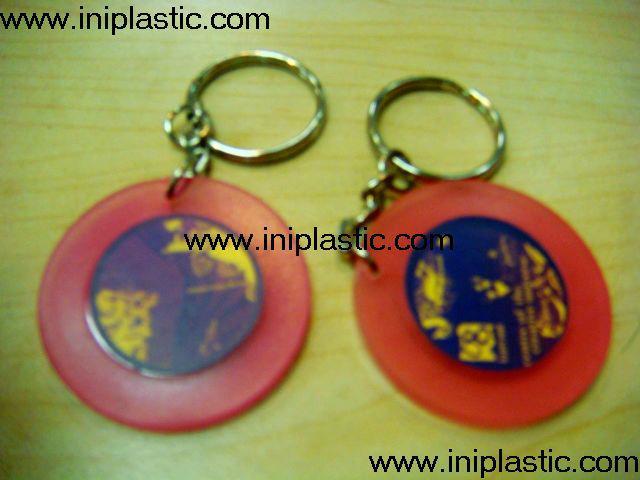 鑰匙扣帶吊飾是l塑料籌碼鑰匙扣兩面印刷logo 9