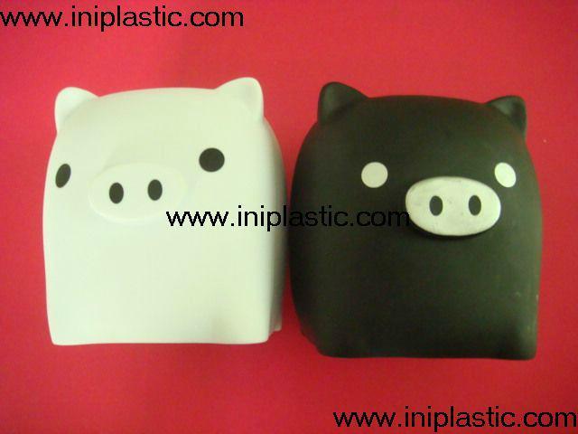搪胶黑猪储钱罐搪胶白猪储钱罐黑白双猪储钱罐猪仔钱罐 9