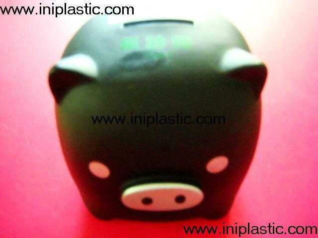 搪胶黑猪储钱罐搪胶白猪储钱罐黑白双猪储钱罐猪仔钱罐 11
