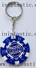 钥匙扣带吊饰是l塑料筹码钥匙扣两面印刷logo