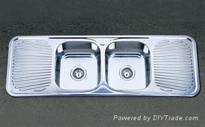 Double Bowl Double Drainboard Stainless Steel Sink 1