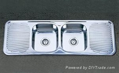 Double bowl double drainboard stainless steel sink