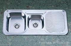 双盆带板水槽