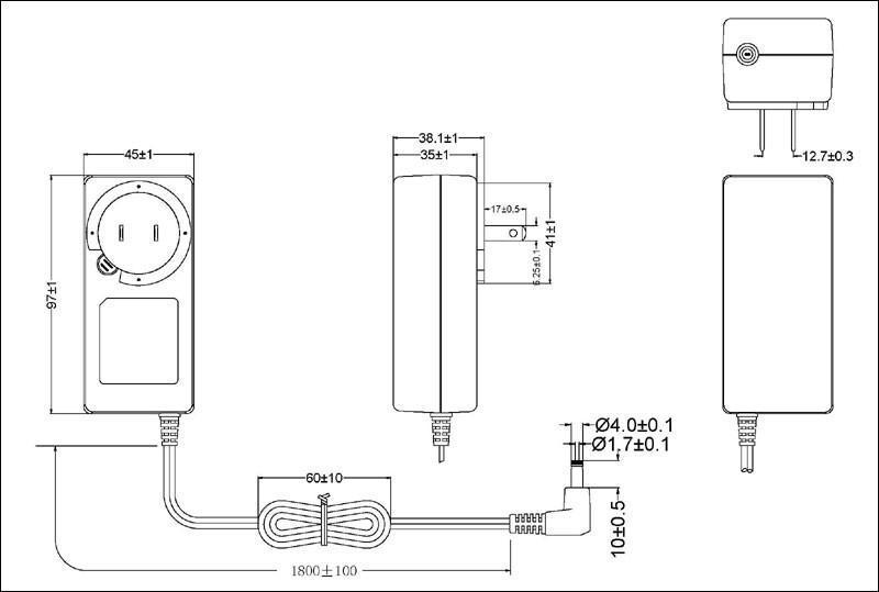 45W美规开关电源适配器 2