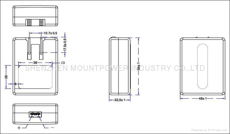 销售美规USB 5V0.5A电池充电器&适配器 2