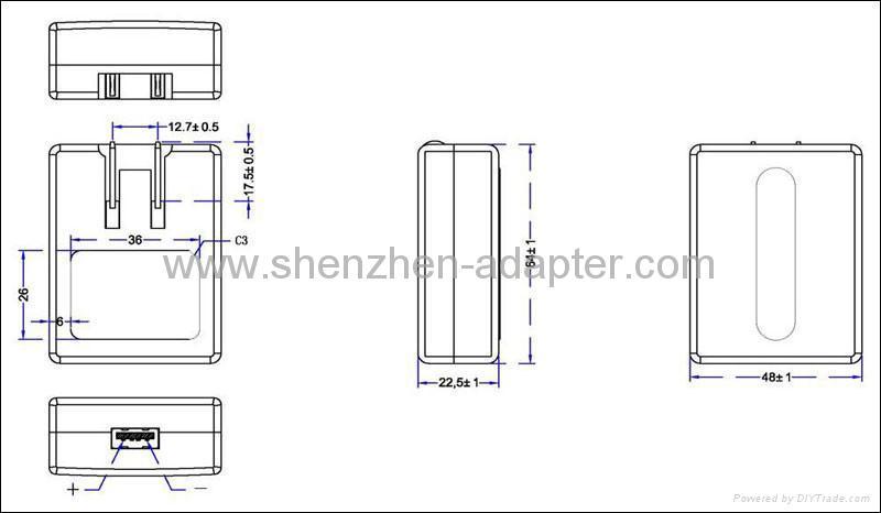 銷售可折疊AC插頭 USB充電器 2