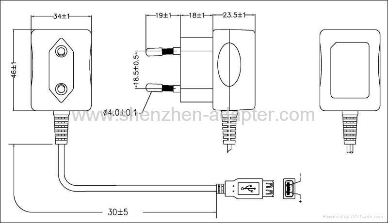 wholesales 5V0.5A AC/DC Adaptor GS plug 3