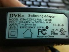 原装DVE DSA-12G-12FUS120120 12V1A帝闻12V1A猫 监控电源适配器