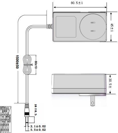 36W电源适配器,24V1.5A插墙式电源 4