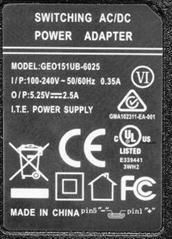 GEO151UB-6025  5.25V 2.5A 電源