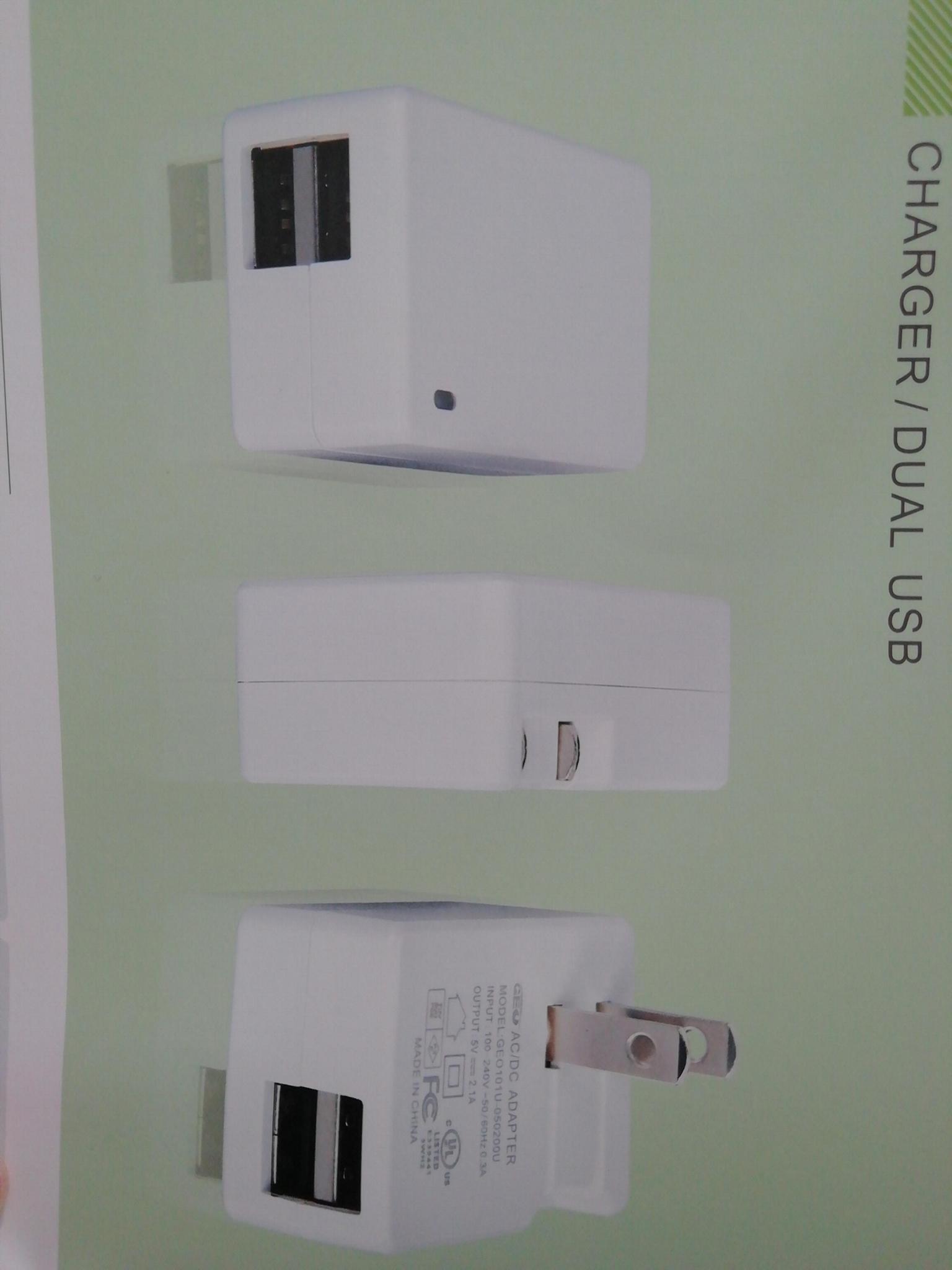 5V2.1A 雙USB充電器 型號GEO101U-050200U 2