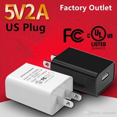 wholesales UL Listed Universal US 5V2A USB Wall Charger Plug GA-0502000 in stock