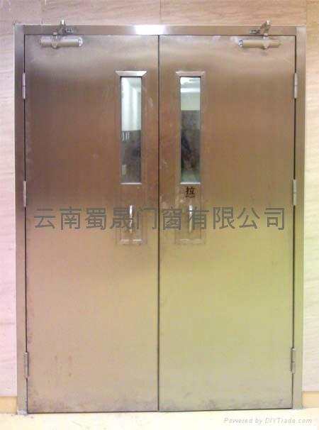 昆明不鏽鋼防火玻璃門(帶小視窗) 1