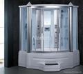 steam shower room with spa bathtub
