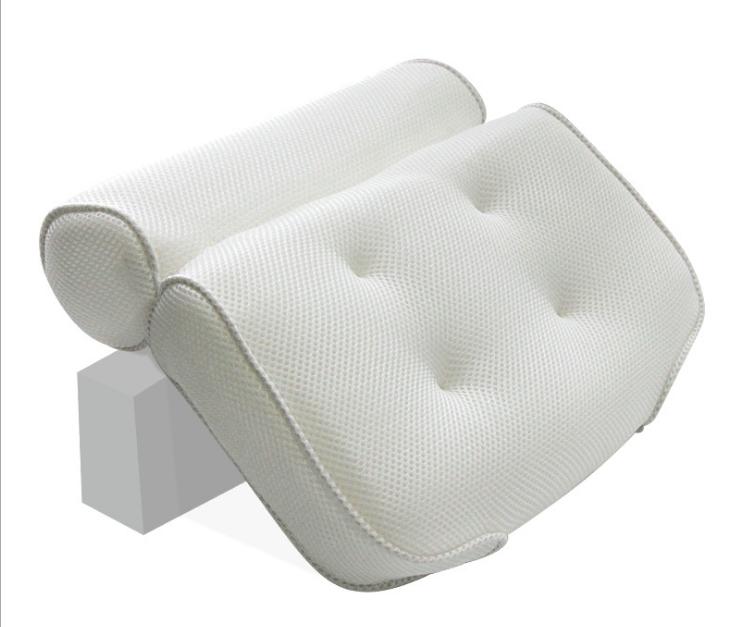 Eco Friendly Air Mesh Spa Bath Tub Pillow Waterproof Cushion With Suction Cups 1