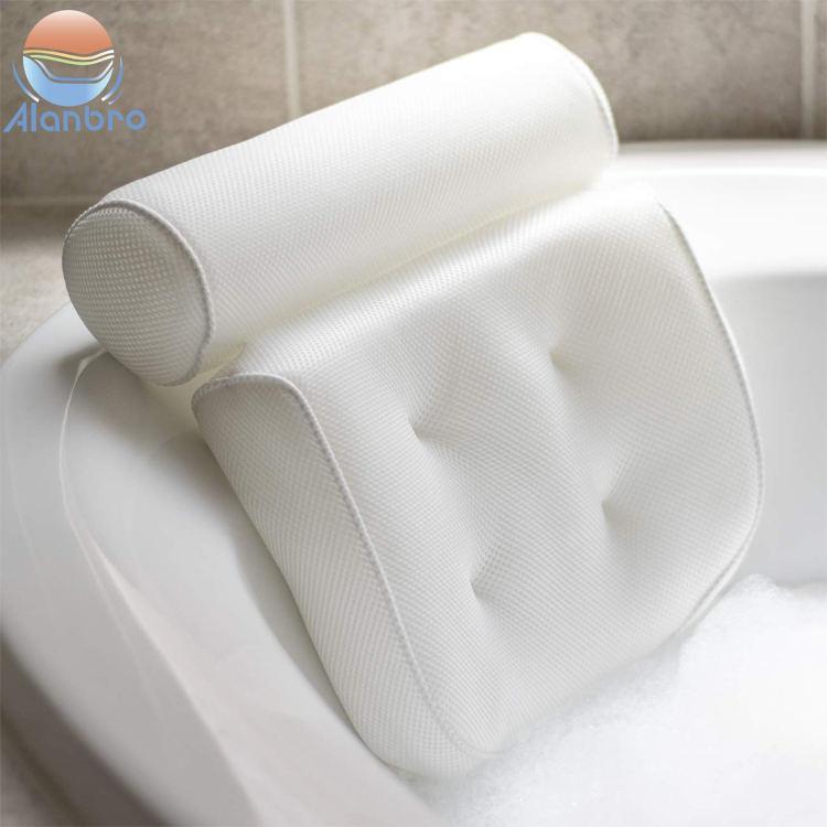 Eco Friendly Air Mesh Spa Bath Tub Pillow Waterproof Cushion With Suction Cups 4