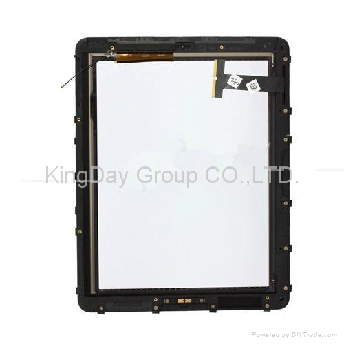 For iPad 3 wifi+3G digitizer touch screen with frame white and black 1