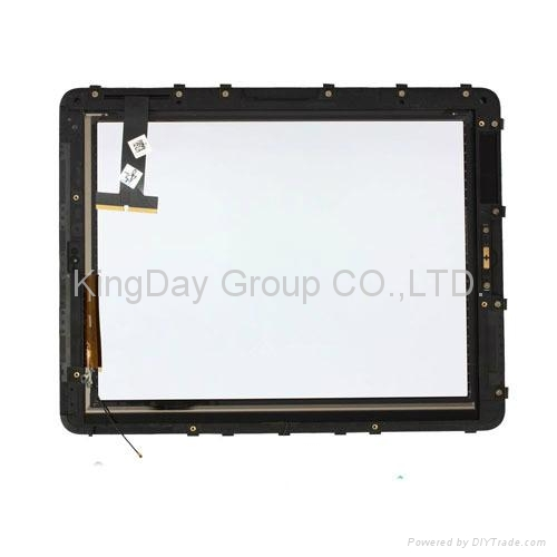For iPad 3 wifi+3G digitizer touch screen with frame white and black 2