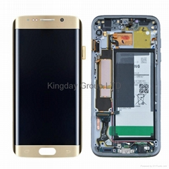 For Samsung S7 Edge LCD Display Touch Screen Digitizer Assembly with Frame Gold