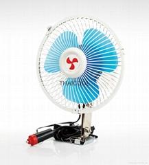 """6"""" full-seal Metal Guard Car Fan 12V/24V Oscillating Auto Fan"""