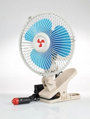 Oscillating full-seal guard clip-on car fan 6 inch with cigarette plug