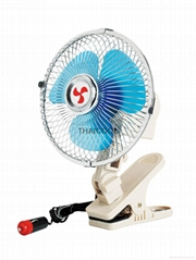 Oscillating full-seal guard clip-on car fan 8 inch with cigarette plug