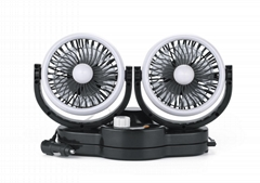 New upgrade 5 inch twin car fan fragrance automatic oscillating cooling fan 12v