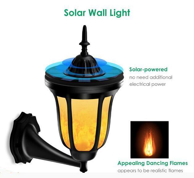 Solar Wall Lights Flickering Flames LED Outdoor Dancing Night Light  1