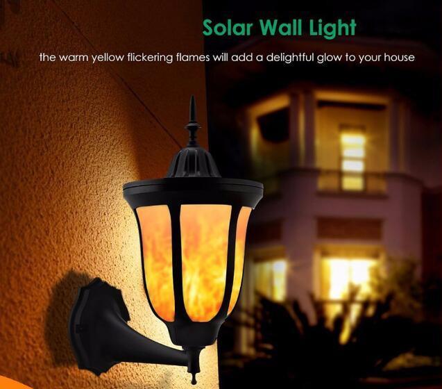 Solar Wall Lights Flickering Flames LED Outdoor Dancing Night Light  2