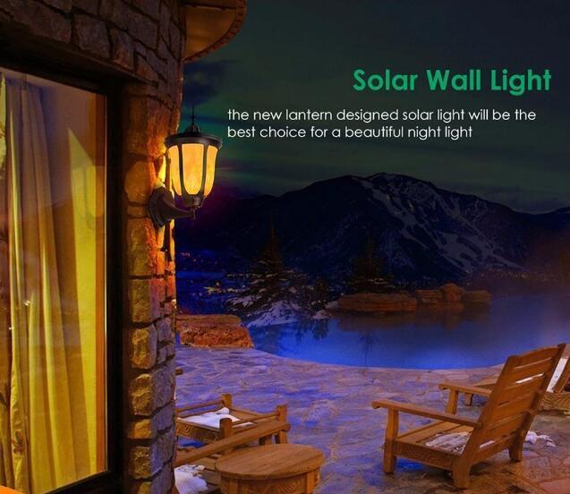 Solar Wall Lights Flickering Flames LED Outdoor Dancing Night Light  5