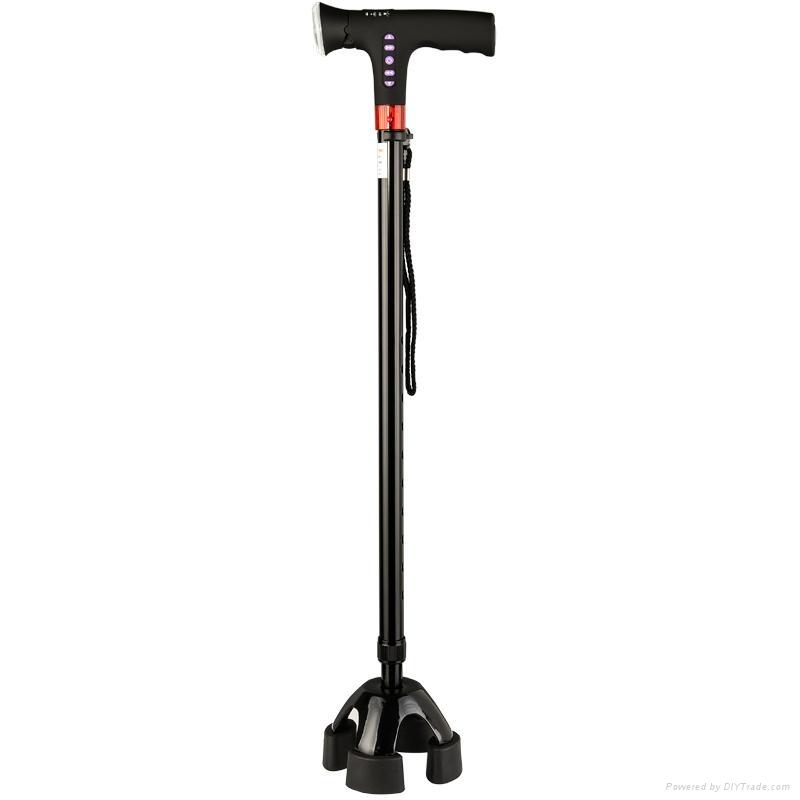 Smart four legs trusty walking stick cane with FM radio LED light magic cane  3