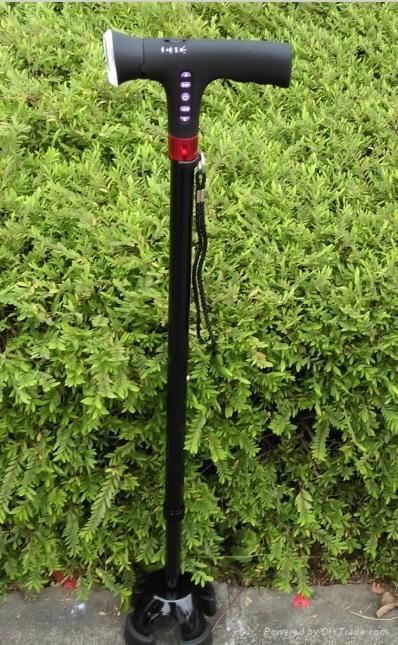 Smart four legs trusty walking stick cane with FM radio LED light magic cane  1