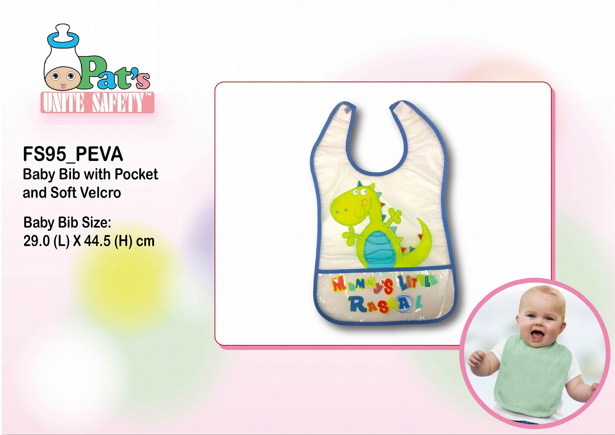 Baby Bib with Pocket and Soft Velcro  1