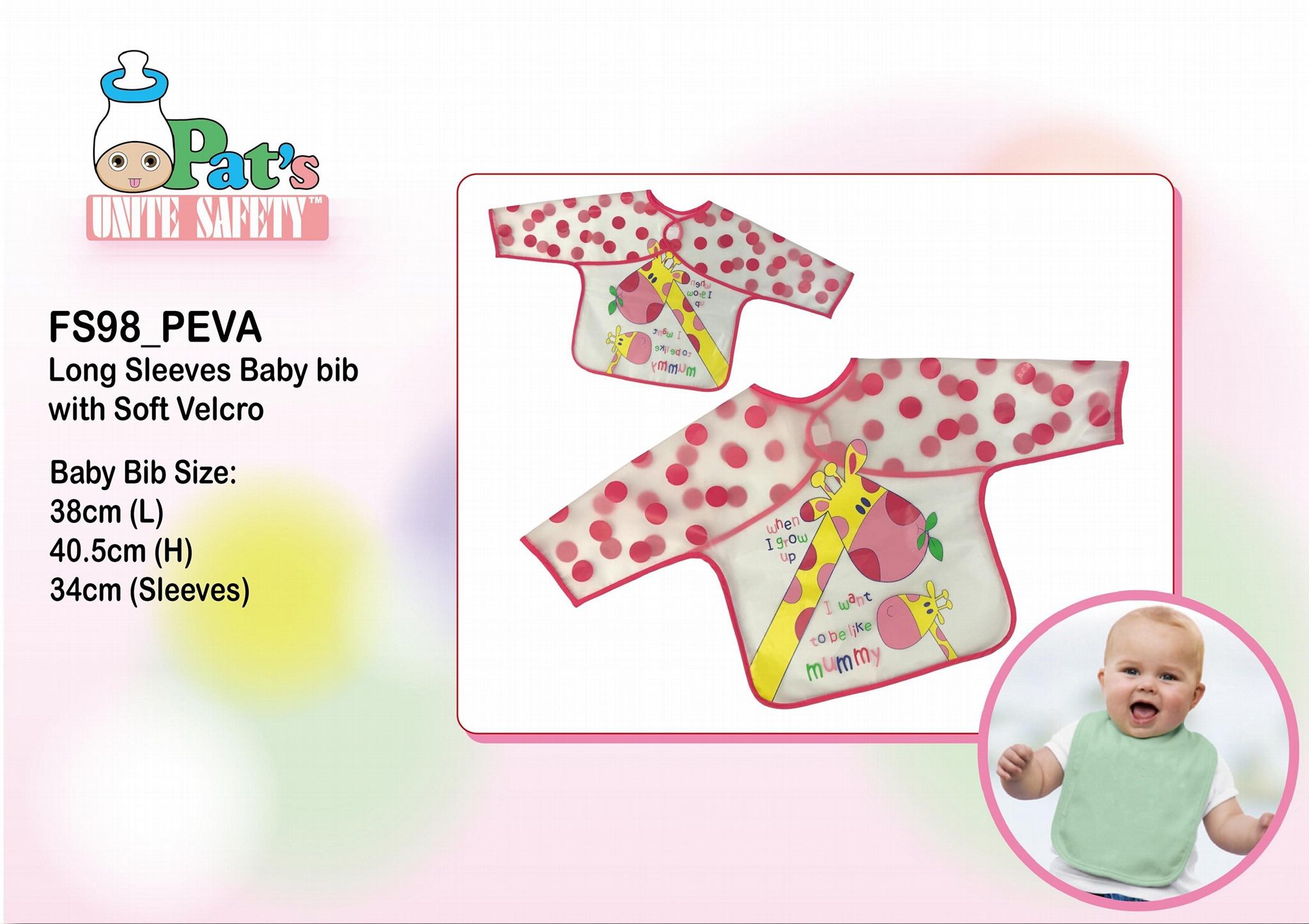 Long Sleeves Baby Bib with Soft Velcro 1