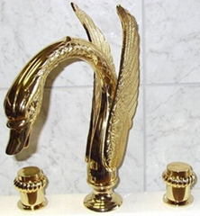 PVD gold  swan sink  bathtub faucet swan