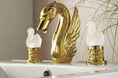 Gold finish PVD bathroom basin sink swan faucet SWAN TAP