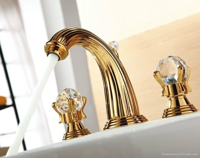 WIDESPREAD LAVATORY BATHROOM SINK FAUCET crystal handles knobs faucet ...