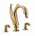 pvd gold swan tub faucet swan sink