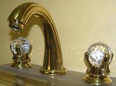 waterfall gold faucet crystal handles sink faucet cupc faucet