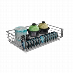Soft- stop Three- side Stainless Steel Kitchen Cabinet Storage Pull out Square D