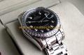Rolex Wrist Copy Oyster Design Black Face Silver Belt with Diamond