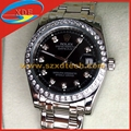 Rolex Wrist Copy Oyster Design Black Face Silver Belt with Diamond