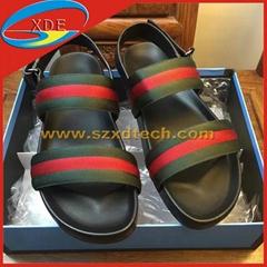 Cucci Leather and Web Sandal Men's Sandals Gucci Shoes