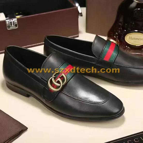 18eec041d32f ... Gucci Leather Shoes Classic Design Leather loafer with GG Web 2 ...