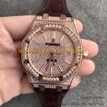 Diamond Audemars Piguet Watches 15400 Collection Swiss Chip Italian Calf Leather
