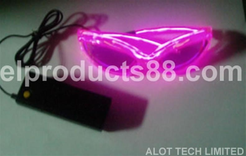 Pink EL wire flashing sunglasses
