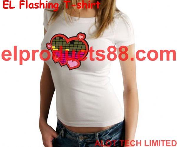 EL女式冷光音乐T恤 冷光片衣服 发光片衣服 1
